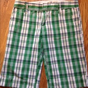 Foxy green plaid pocketed belt loops shorts size 4